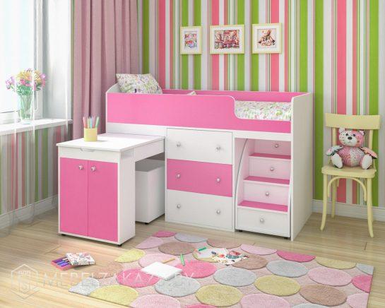 Кровать-чердак для детей от трех лет в розовом цвете