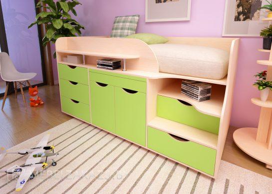 Современная кровать-чердак в детскую в стиле минимализм с рабочей зоной