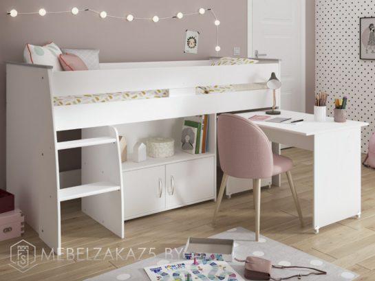 Современная детская кровать-чердак со встроенным шкафчиком и выдвижным письменным столиком