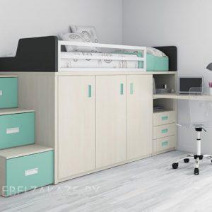 Кровать-чердак в стиле минимализм в детскую комнату