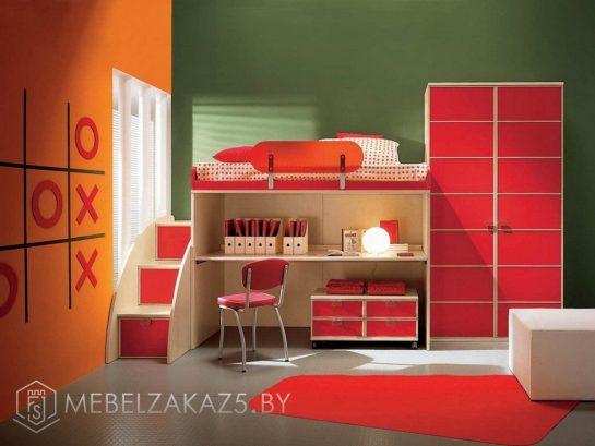 Ярко-красная современная кровать-чердак в детскую
