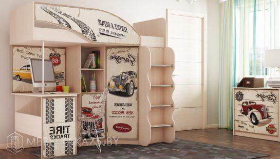 Стильная кровать-чердак в детскую для мальчика