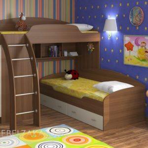 Современная кровать-чердак из массива в детскую для двоих детей