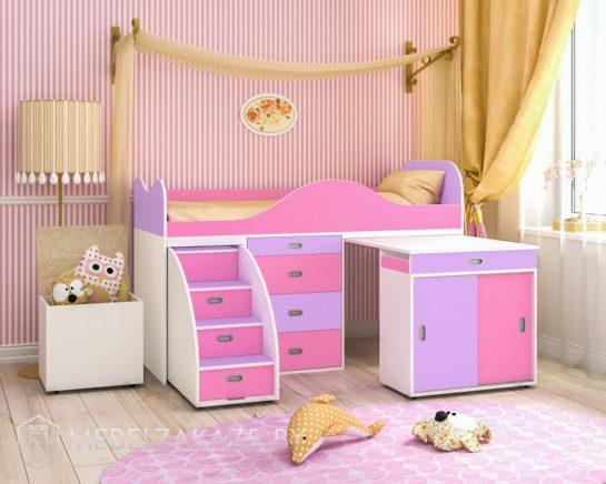 Современная яркая розово-фиолетовая кровать-чердак для девочки