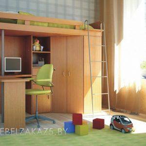 Классическая кровать-чердак в комнату подростка