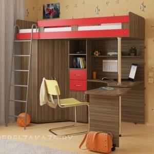Классическая красно-коричневая кровать-чердак в детскую