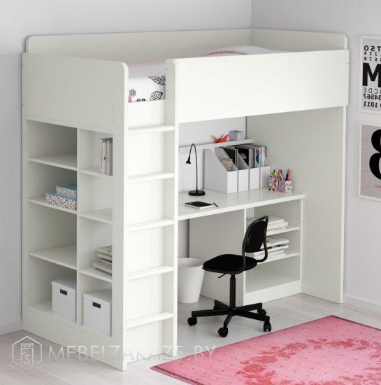 Компактная ультрасовременная кровать-чердак в детскую для девочки