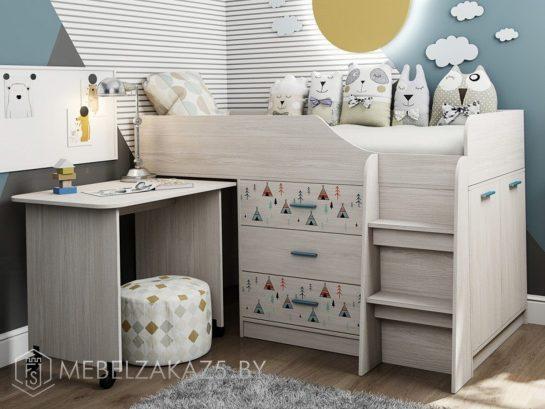 Современная детская кровать-чердак с выдвижным письменным столом