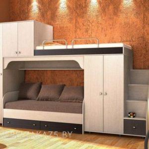 Современная кровать-чердак в детскую в бежево-черном цвете
