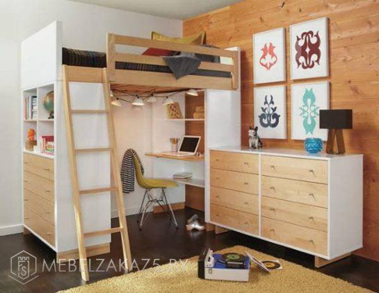 Своременная кровать-чердак в детскую с комодом и рабочей зоной