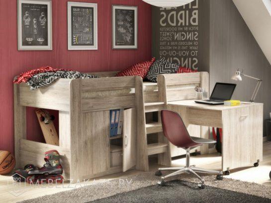 Кровать-чердак в детскую из массива в классическом стиле