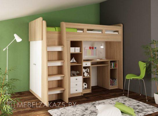 Детская кровать-чердак со встроенной рабочей зоной и шкафом-пеналом