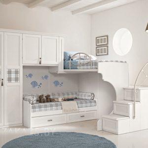 Современный белый комплект мебели в комнату для детей от трех лет