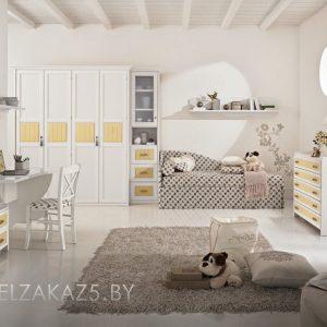 Комплект современной мебели для девочки трех лет с кроватью и комодом