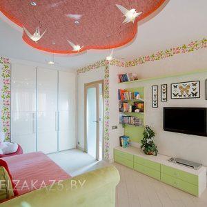 Встроенный глянцевый шкаф в детскую комнату девочки трех лет