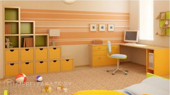 Ярко-оранжевый комплект корпусной мебели в детскую комнату для детей от 3-х лет