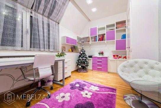Комплект детской мебели для девочки в бежево-сиреневом цвете
