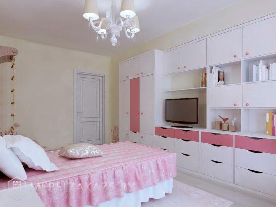 Стенка в детскую комнату для девочки-подростка с кроватью