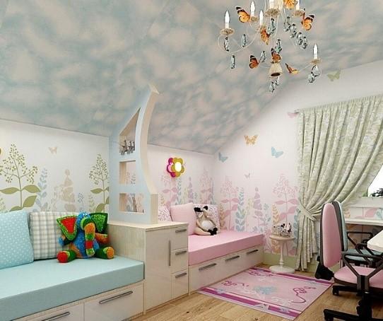 Зонирование детской комнаты посредством цвета