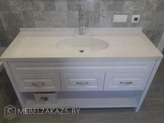 Современная тумба под умывальник в ванную белого цвета