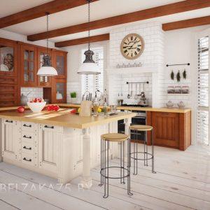 Кухня с островом из дерева