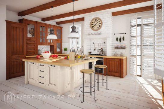 Кухня с островом из массива