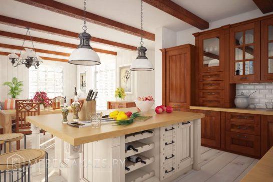 Кухня с островом из массива в классическом стиле