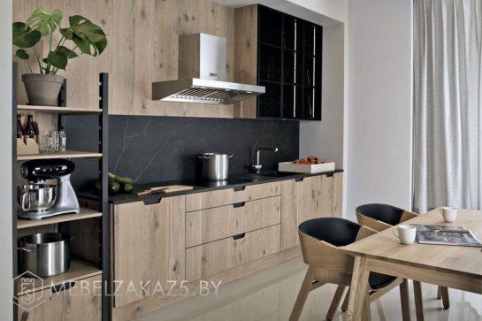 Линейная кухня в современном стиле из ЛДСП
