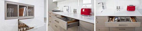 Линейная кухня маленького размера из ЛДСП в скандинавском стиле