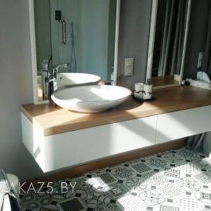 Белая подвесная тумба в ванную комнату