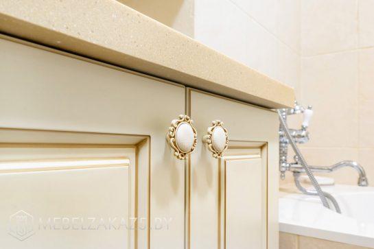 Тумба под круглую раковину для ванной с декоративными ручками