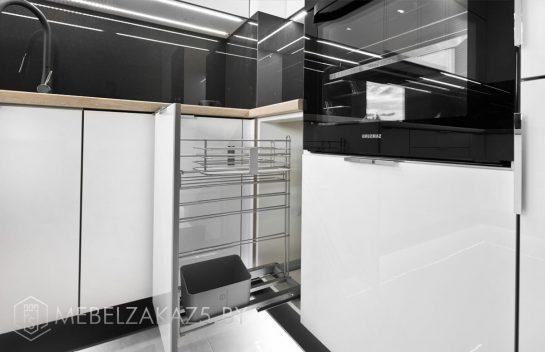 П-образная кухня из акрила минимализм