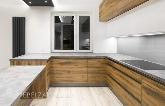 П-образная кухня из ЛДСП минимализм