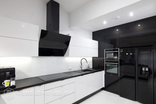 Акриловая угловая кухня хай тек