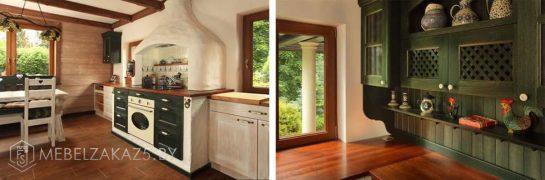 Угловая кухня болотного цвета из массива дерева