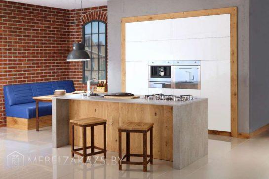 Встроенная кухня из акрила с островом 709