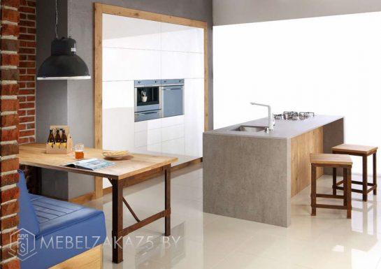 Встроенная кухня без ручек с островом 709(3)