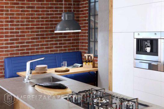 Встроенная акриловая кухня с островом 709(8)