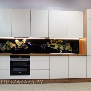 Современная линейная пластиковая кухня с глянцевыми фасадами