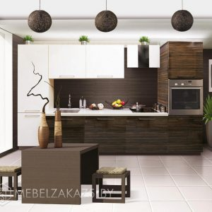 Прямая кухня из пластика бело коричневого цвета