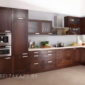 Большая угловая кухня цвета венге