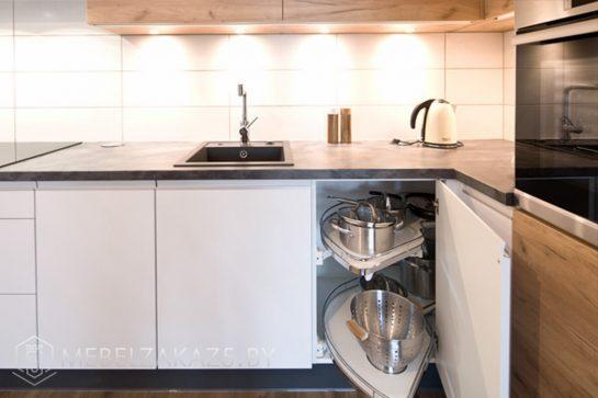 Угловая кухня в стиле хай тек матовая