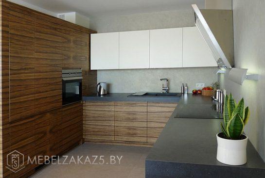 Двухцветная П-образная кухня в стиле модерн
