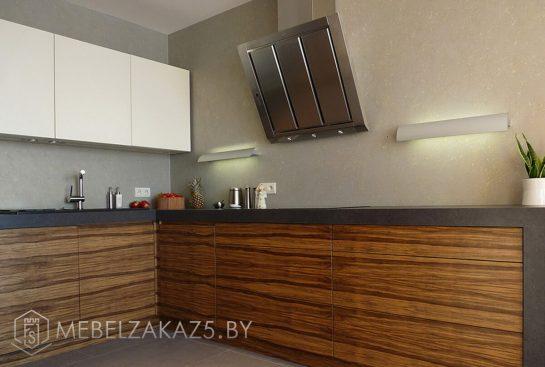 Двухцветная п образная кухня модерн