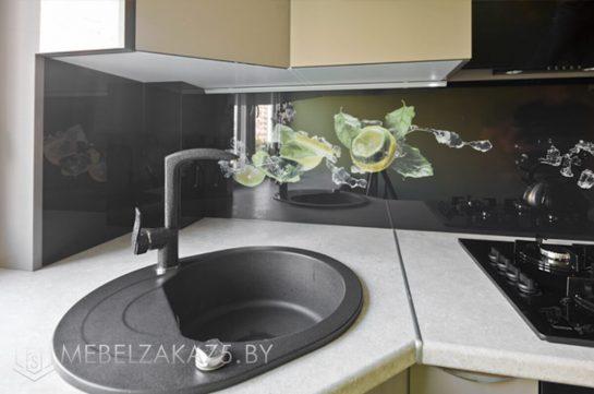Оливковая современная угловая кухня