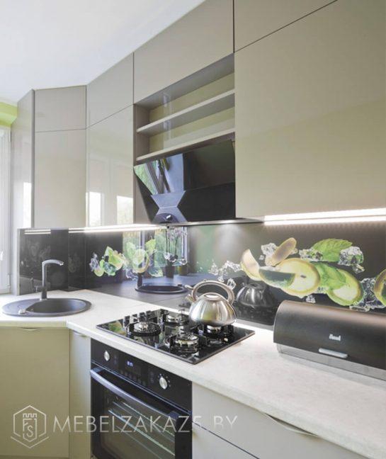 Современная угловая кухня оливкового цвета