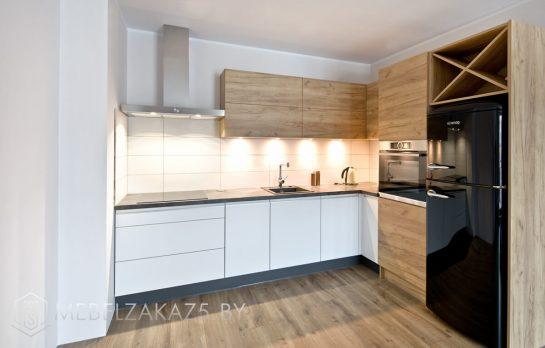 Скандинавская угловая кухня из шпона
