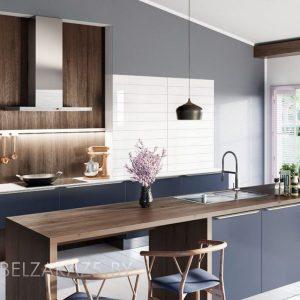 Линейная островная кухня синего цвета в стиле модерн