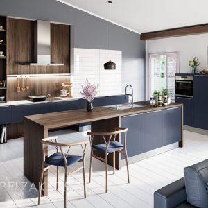 Синяя линейная кухня с островом