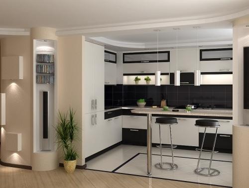 Современная кухня-студия с барной стойкой